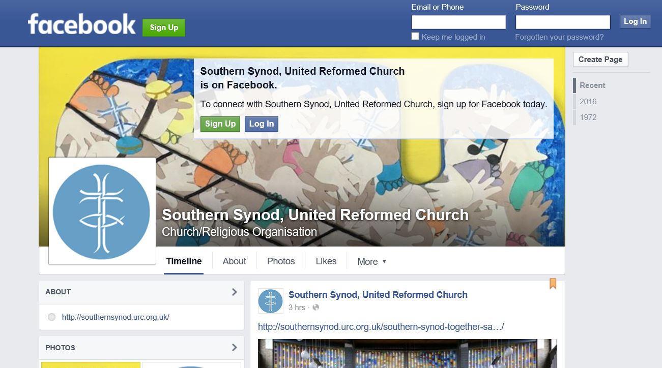 Southern Synod Facebook Page